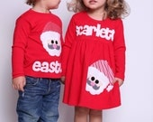 Christmas Brother Sister set- Christmas Dress and Shirt-  Santa Dress