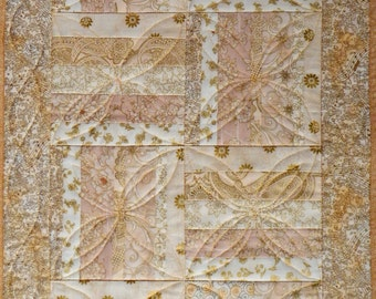 Small Quilted Table Runner, 4785-0, Cream and Gold Table Runner, Pieced Table Runner