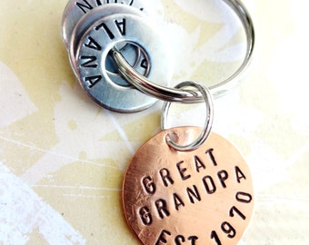 Great Grandpa Personalized Christmas Keychain Gift - GREAT GRANDPA EST. Grandparent Birthday Hand Stamped Key Chain - Copper Disc - Washers