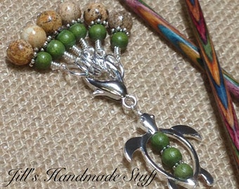 Sea Turtle Stitch Marker Holder & Snag Free Stitch markers- Knitting Gift- Tools- Beaded organizer