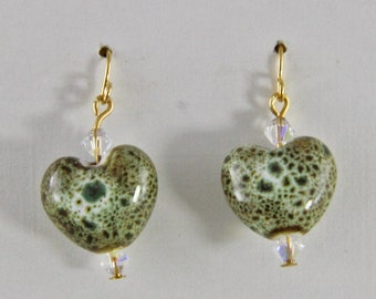 Crystal Glass and Brass Small  Dangle Earrings Green Glass Heart Earrings