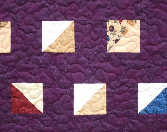 MODERN QUILTED THROW Baby Quilt Blanket Throw in Dark Plum Wine Gold Green Burgundy and Beige Approx 55 x 38 Quiltsy Handmade