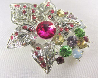 Multicolor Silver Flower Brooch with Quality Crystals in hot pink, green, yellow, white for bridal bouquet or jewelry decoration