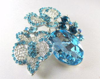 Blue Turquoise Silver Cluster Brooch Pin with Quality Crystals for bridal bouquet or jewelry pin