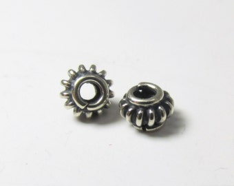 Two Bali 925 Sterling Silver 5mm Wired Daisy Spacer Jewelry Beads with wired design - Jewelry Findings