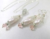 Bride or Bridesmaid Necklace and Earring Set in Vintage Pink Pale Blush Pink Pearl and Silver Teardrop