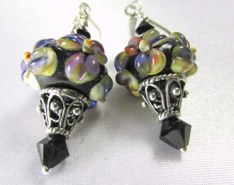 Bali Sterling Silver Lampwork Glass Black, Purple, Green Floral Earrings with Swarovski Crystals