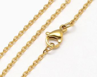 """Stainless Steel Necklaces 18"""" - Fine gold plated chain 1.5mm x 0.2mm - Great Quality - Quantity Options - N64"""