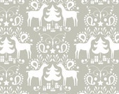 Deer Fabric Christmas Fabric Reindeer Christmas Fabric Maude Asbury Fabric Rudolph in Grey Treelicious for Blend Fabrics