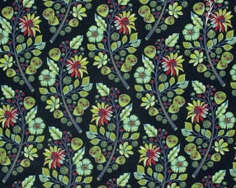 Sprout in Midnight Tula Pink Fabric by the Yard Green Floral Moon Shine Fabric One Yard