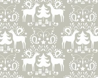 Deer Fabric Christmas Fabric Reindeer Christmas Fabric Maude Asbury Fabric Rudolph in Grey Treelicious for Blend Fabrics
