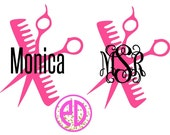 Hairstylist Monogram Decal, Hairdresser Decal, Cosmotologist, Beautician, Salon Decal, Car Decal, Hairstylist Gift, Monogram