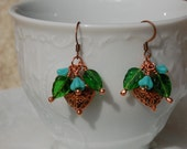 Copper Hearts with Turquoise Bell Flowers Dangle Earrings....item number 450