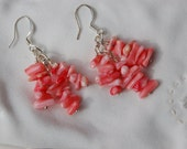 Coral Chip Dangle Earrings.......item number 435