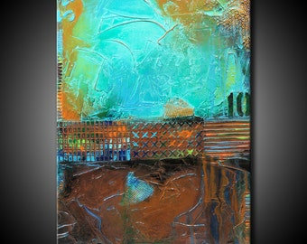 24x36 Textured Abstract Painting Urban Modern ORIGINAL Teal Brown Canvas Fine Art by Maria Farias