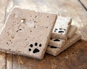 Pet Paw Print Coaster Set, Dog or Cat Lover, Natural Tumbled Marble Rustic Coasters Set of Four 4x4, Handmade Home Decor Shabby Chic Simple