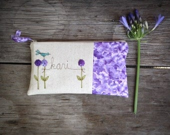 Baby Shower Hostess Gift, Thank You Gift, Unique Personalized Clutch Purse, Purple Floral Bag, Gift under 50 MADE TO ORDER MamaBleuDesigns