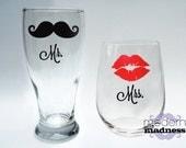 Mr and Mrs Glasses - Set of 2 - stemless wine - pilsner - wedding