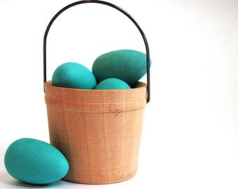 Natural Wood Toy- Robins Eggs- Easter Basket- Wooden Waldorf Holiday Decor