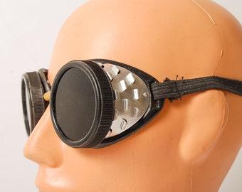 Vintage safety glasses, industrial goggles, black  lenses.
