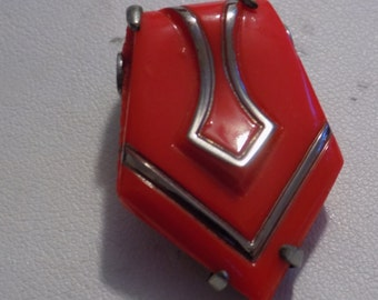 "Antique Art Deco dress clip, marked ""Ges.Gesch"" German red glass clip brooch, collectible antique"
