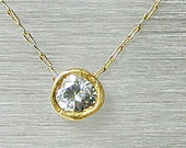 Gold Solitaire necklace ,Small round pendants ,Every day necklace
