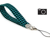 SPECIAL: Buy Three Get One Free > Black and Turquoise Houndstooth - Camera Wristlet