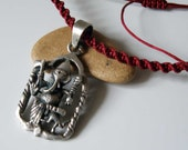 Sterling Silver Ganesh Pendant Necklace - maroon macrame - unisex jewelry - Remover of obstacles - Handmade jewelry