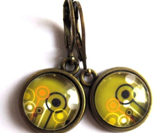 Olive Green Abstract Flower Earrings Glass Dangle Fashion Jewelry