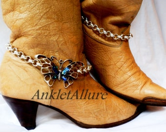 Live Like A Butterfly Boot Chains Silver Copper Boot Jewelry Cowboy Boots Boot Bracelet