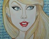 Taylor Swift Pop Portrait Songs Rock Caricature Music Art