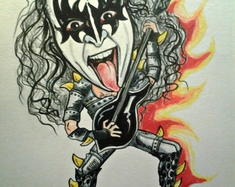 Rock and Roll Caricature Pop Portrait Kiss Gene Simmons Music Art Print 8.5 x 11