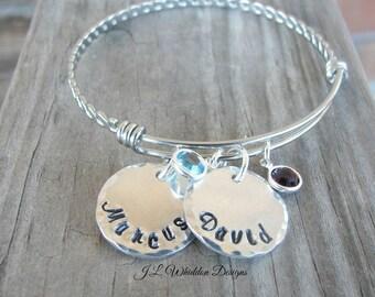 Custom Bangle Bracelet - Personalized Mother's Bracelet - Family Bracelet - Name Bracelet - Custom Bracelet