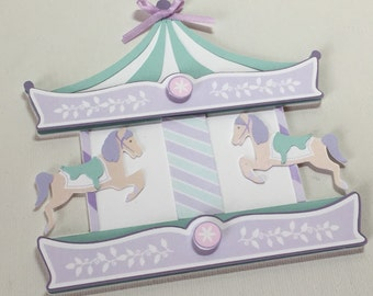 Carousel Invitations - /carousel  theme party / pastel colors / baby shower or birthday / set of 12