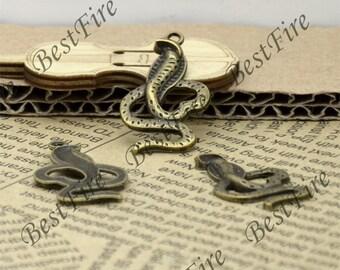 12PCS Of 18x34 MM Antique Bronze snake Charms Pendant,pendant beads,  Snake Shape pendants jewelry findings