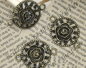2 PCS Of 31x45MM  Antique Bronze Connector Flower jewelry findings,metal finding,pendant beads,two holes Charms