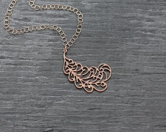 Rose gold necklace, unique rose gold, necklace rose gold