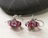 Pink Glass & Sterling Silver Earrings with Small Flowers, Lampwork Jewelry, Dangle, Handmade, Glass Jewelry, Pink Glass Beads, Pink Earrings