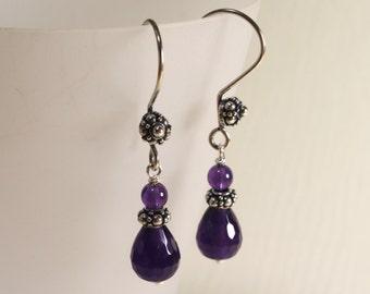 Faceted Amethyst Dangle Earrings, Purple Earrings, Sterling Silver, Gemstone Jewelry, Semiprecious Stone