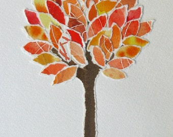 Shades of Autumn Recycled Tree Collage