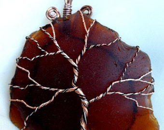 Wire Wrapped Copper Tree of Life Over Beach Glass Ornament