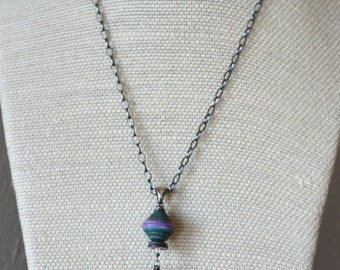 Solar Quartz Natural Stone Necklace, Artisan Lampwork and Oxidized Sterling Silver Chain Necklace