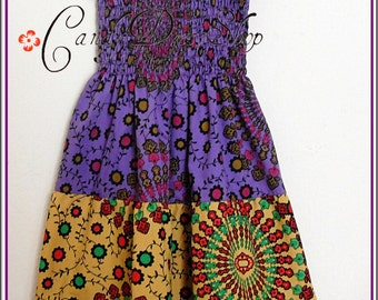 Girls Maxi Dress, Little Girls Long Dresses, African maxi dress, Tiered maxi dress, Purple-yellow-green (Sizes 2,3,4,5,6,7.8,9,10 years)