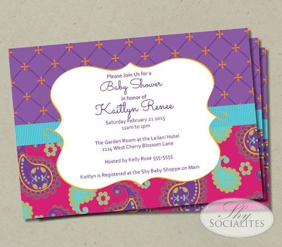 moroccan baby shower invitation fuchsia purple paisley baby
