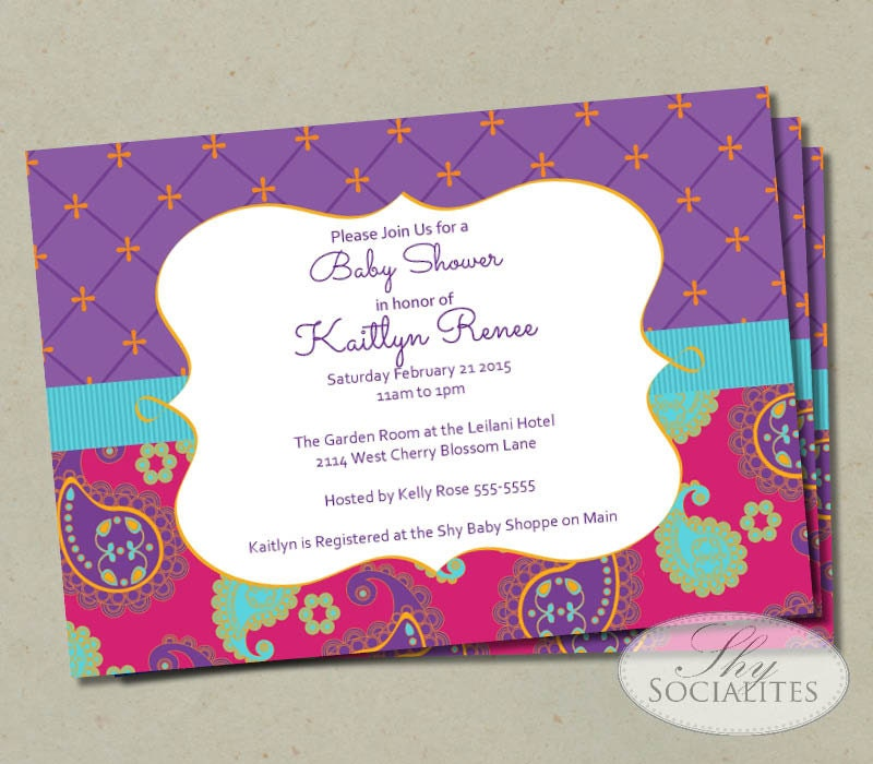 Moroccan Baby Shower Invitation Fuchsia Purple Paisley