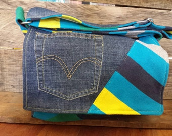 Messenger bag made from recycled fabrics Blue Yellow