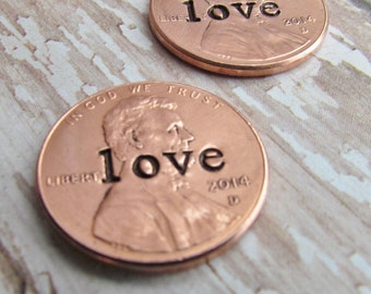 Penny In Her Shoe Set of 2 Wedding Day Lucky Penny Pennies Charm Bride Groom No Hole Any Year 1950 to 2017 WEDDING BRIDAL SHOWER Gift