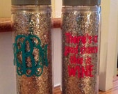 18oz silver or gold glitter sparkle sports water bottle double wall insulated with lid and straw BPA free monogram personalize initial