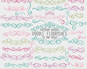 Doodle Flourishes Swirls Photoshop Brushes, Digital Flourish Swirl Photoshop Brushes, Great for Weddings - Commercial and Personal Use