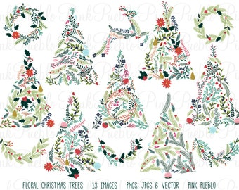 Floral Christmas Tree Clipart Clip Art, Christmas Holiday Botanical Tree Clipart Clip Art Vector - Commercial and Personal